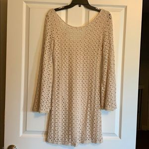Free People crochet dress with bell sleeves